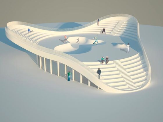Skaten op het dak van technisch en educatief centrum