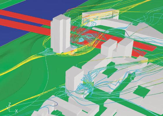 Virtuele windtunnel maakt gebieden met hoogbouw windproof