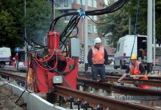 Nieuwe lastechniek tramspoor Den Haag