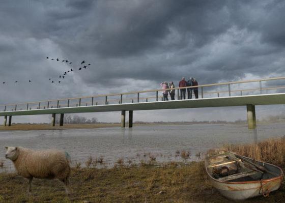 Overstroombare brug krijgt vleugelvorm