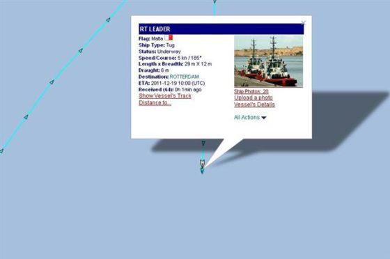 Sleepboot verliest kraan op Noordzee
