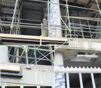 Alleen staanders ondersteuningsconstructie B-Tower correct geplaatst