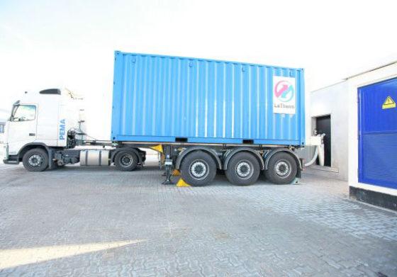 Restwarmte in container vol zout naar gebruiker