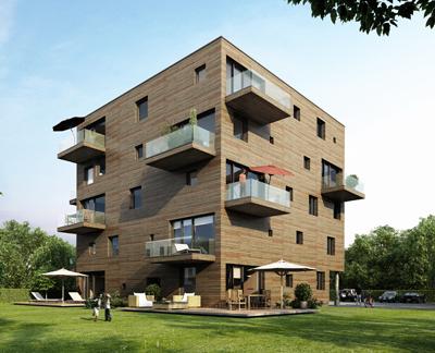 Woodcube bijna 100% houten hoogbouw