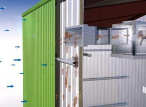 Metalen gevel voert warmte gebouw in