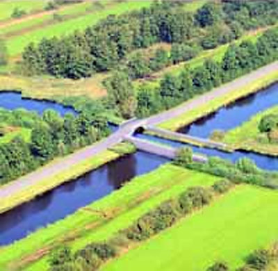Aquaduct en ecoduct in natuur Olde Maten