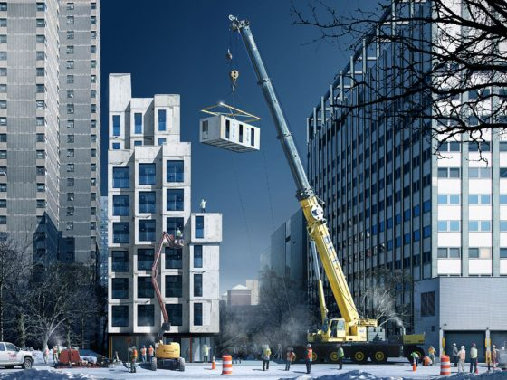 Negen hoog bouwen met prefab micro-appartementen