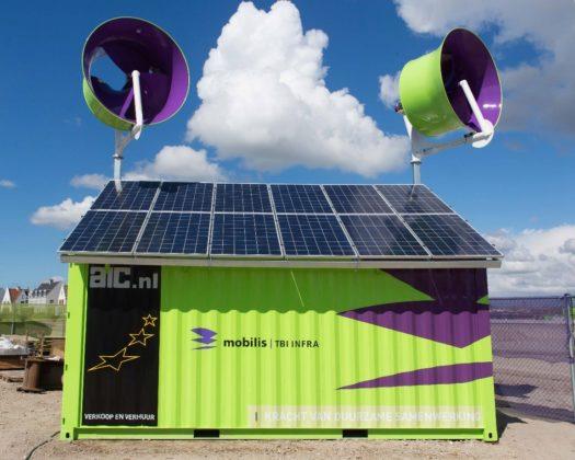 Energiecontainer levert stroom op bouwplaats Mobilis