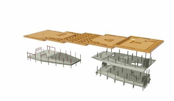 Houten constructie ligt als tafelblad op twee bouwdelen