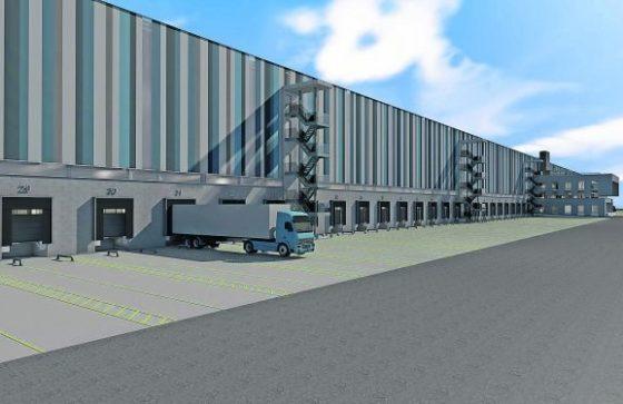 Warehouse voor kleding op hangers