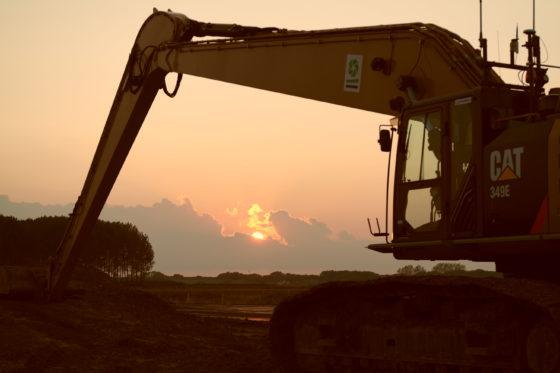 'Rustende' grondverzetmachine