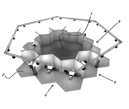 Twaalf basiseenheden (2) zijn zijdelings te koppelen tot een 'beurseiland' met kleine (2,4) of grotere (5,6) stands en een gezamenlijke binnenruimte (7)