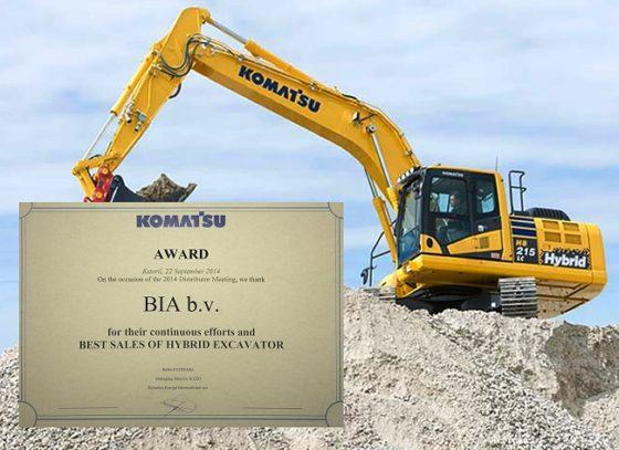 BIA Nederland verkoopt meeste hybride Komatsu's