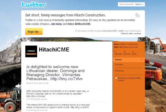 Hitachi ook op Facebook, Twitter en YouTube