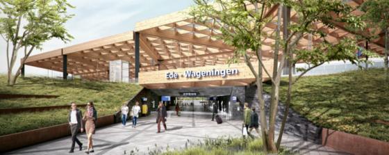 Imposante houtconstructie station Ede-Wageningen