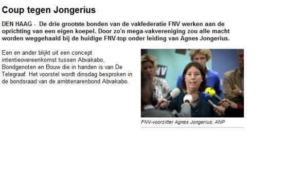 'Geen coup FNV Bouw tegen Agnes Jongerius'