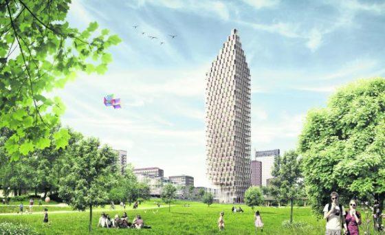 Houten woontoren in Zweden telt 34 etages