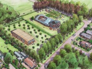 De tijdelijke woningen van 'nieuwe buren nieuwe erven': units bij een boer.
