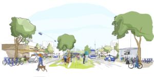 De stad van de toekomst heeft zelfrijdende deelauto's.
