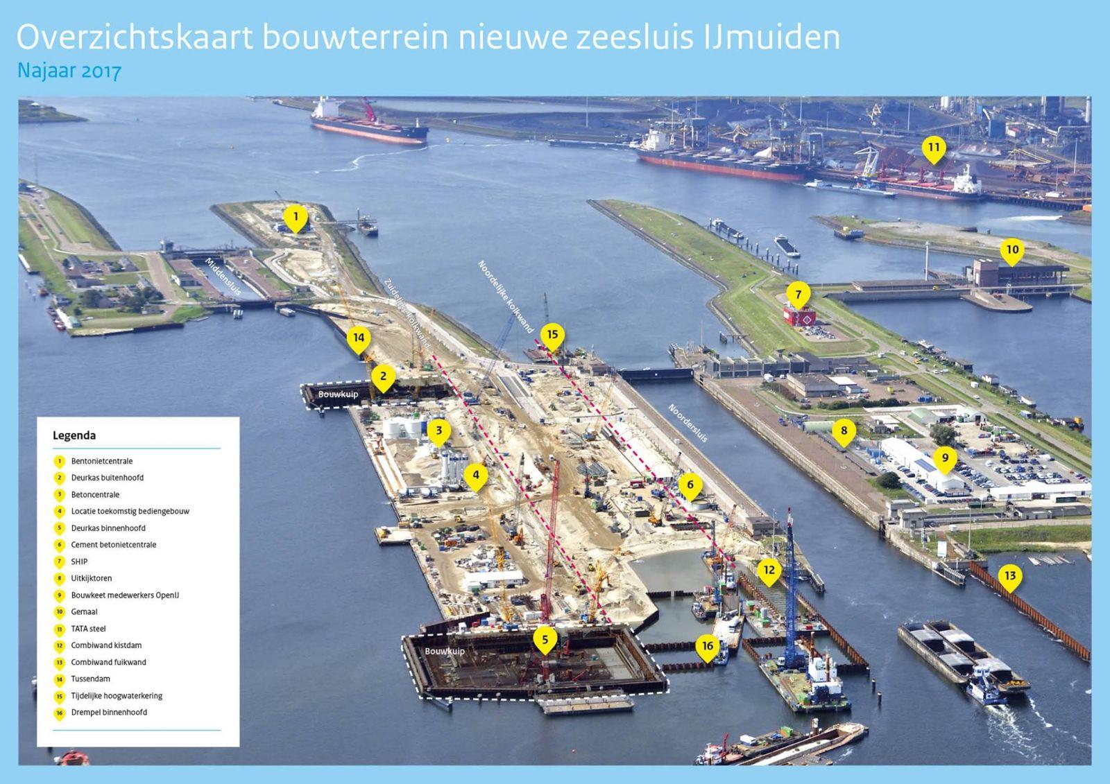 Overzicht werk Zeesluis IJmuiden