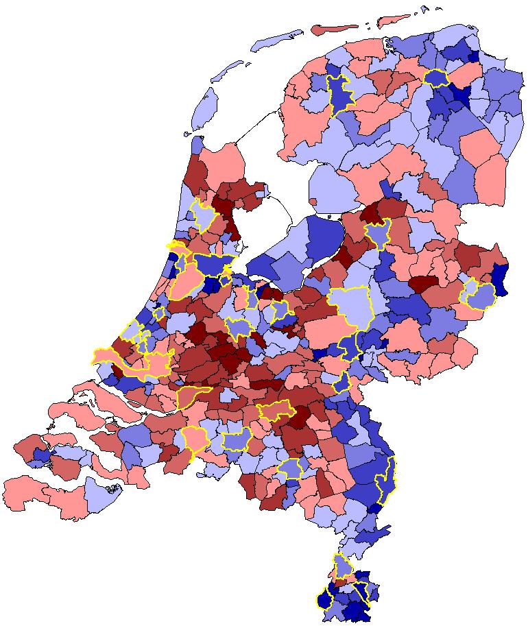 Edam-Volendam telt per hoofd van de bevolking de grootste bouwactiviteit. De rode gebieden zijn de gebieden waar de bouw relatief sterk is. In de blauwe gebieden gebeurt minder, Bron: Bureau Louter