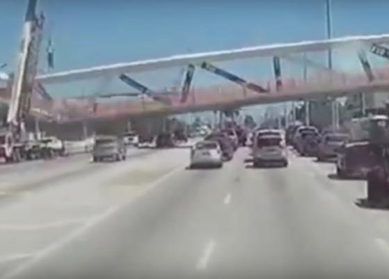 Instorting voetgangersbrug Miami met dashcam vastgelegd