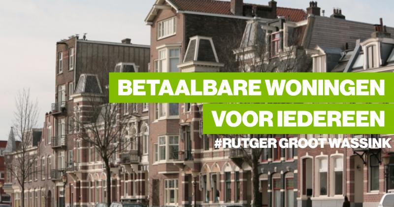 Verkiezingsposter van GroenLinks in Amsterdam: Betaalbare woningen voor iedereen