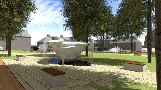 Maaiveld   Dokkum krijgt ijsfontein die smelt in de zon