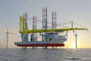 Hefschip met kraan voor nieuwste generatie offshore windparken