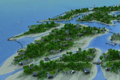 Streep door aanleg eilandjes met vakantievilla's in Grevelingen