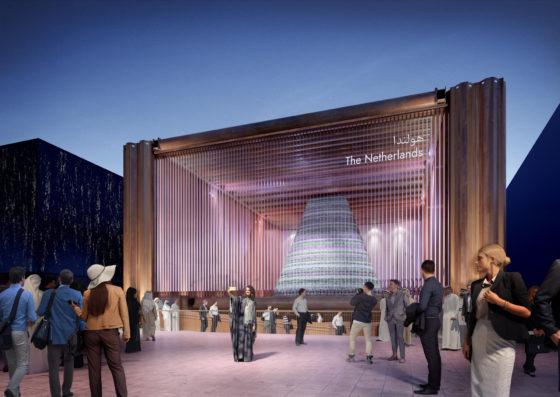 Paviljoen van damwanden en stempelraam moet harten winnen op wereld expo Dubai