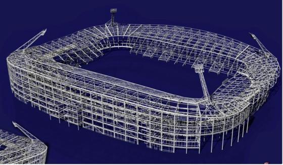 """""""Tijdens opeenvolgende bezuinigingsronden werd de kapconstructie van het AZ stadion slanker en slanker"""""""