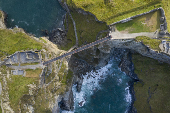 The new footbridge at Tintagel Castle, Cornwall. Photograph by David Levene 6/8/19