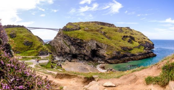 Tintagel, UK. 4, August, 2019. Tintagel Castle ahead of the opening of the new bridge due to open this week.