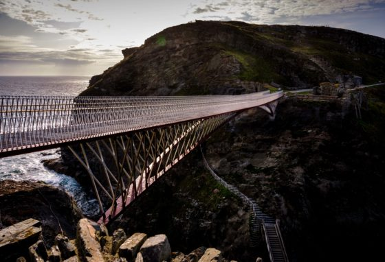 Tintagel, UK. 5, August, 2019. Tintagel Castle ahead of the opening of the new bridge due to open this week.