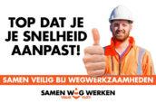 Spandoek vraagt aandacht voor wegwerker A31: 'Mooi dat je gas terugneemt'